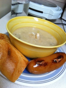 Rosemary and White Bean soup with french bread and Mettwurst