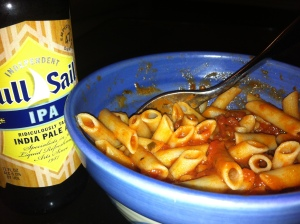 Lazy dinner... Rice penne with Rao's Homemade marina sauce and, of course, beer.